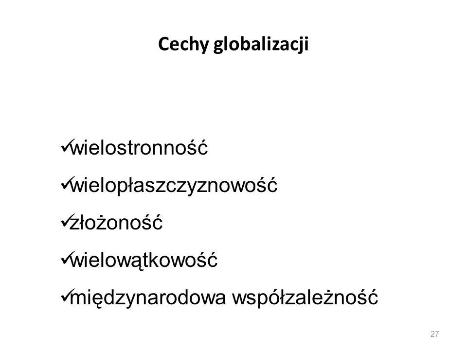 27 Cechy globalizacji wielostronność wielopłaszczyznowość złożoność wielowątkowość międzynarodowa współzależność