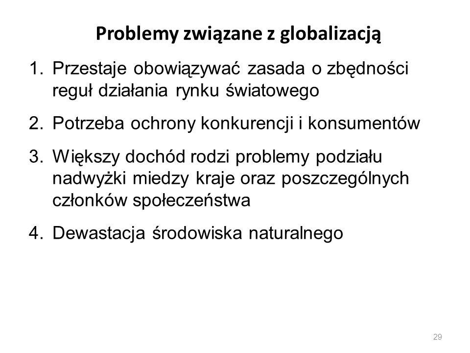 29 Problemy związane z globalizacją 1.Przestaje obowiązywać zasada o zbędności reguł działania rynku światowego 2.Potrzeba ochrony konkurencji i konsu