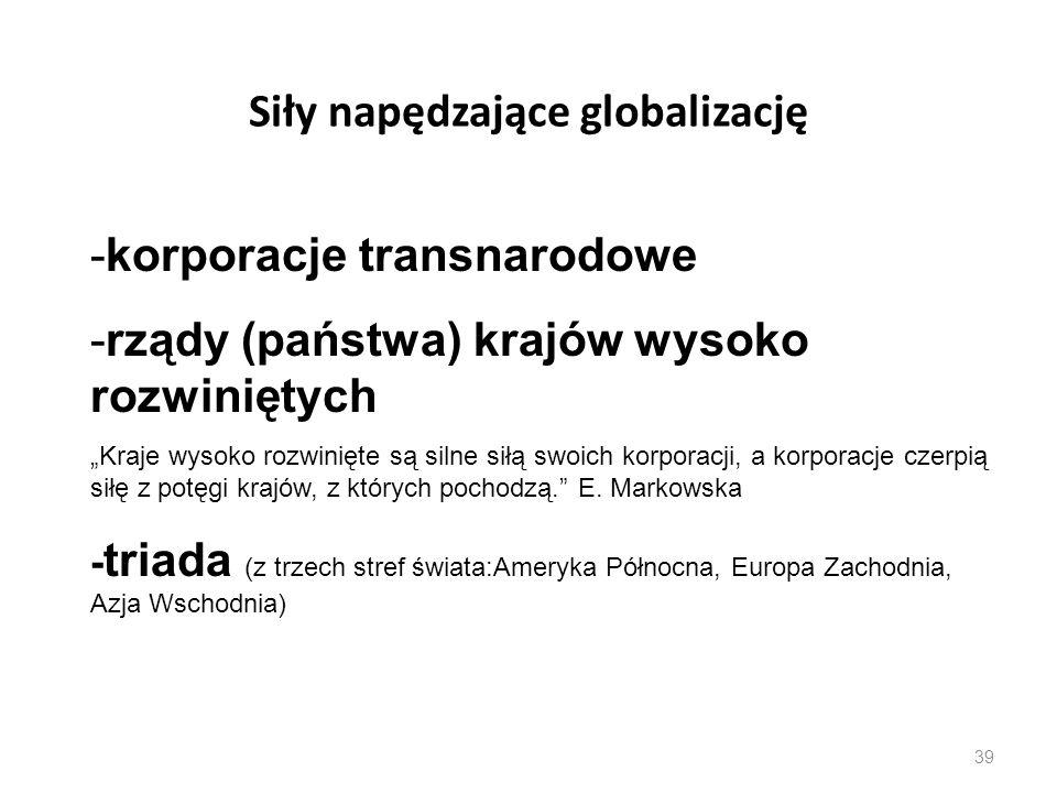 """39 Siły napędzające globalizację -korporacje transnarodowe -rządy (państwa) krajów wysoko rozwiniętych """"Kraje wysoko rozwinięte są silne siłą swoich k"""