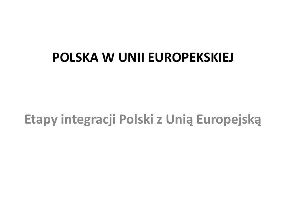 POLSKA W UNII EUROPEKSKIEJ Etapy integracji Polski z Unią Europejską