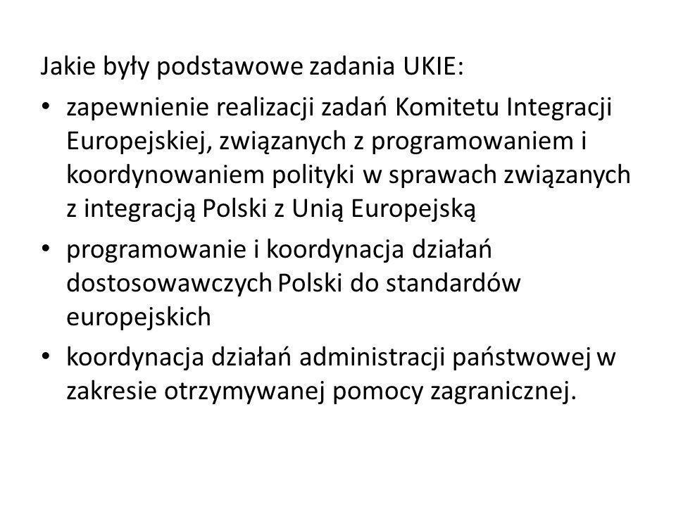 Jakie były podstawowe zadania UKIE: zapewnienie realizacji zadań Komitetu Integracji Europejskiej, związanych z programowaniem i koordynowaniem polityki w sprawach związanych z integracją Polski z Unią Europejską programowanie i koordynacja działań dostosowawczych Polski do standardów europejskich koordynacja działań administracji państwowej w zakresie otrzymywanej pomocy zagranicznej.