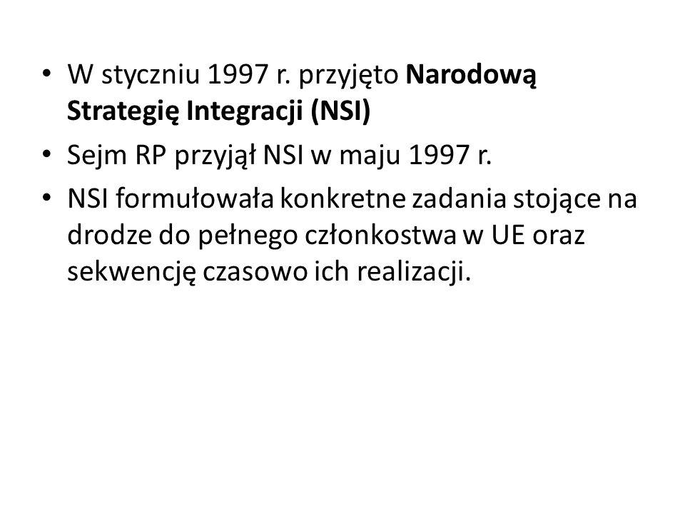 W styczniu 1997 r. przyjęto Narodową Strategię Integracji (NSI) Sejm RP przyjął NSI w maju 1997 r. NSI formułowała konkretne zadania stojące na drodze