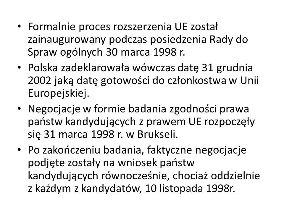 Formalnie proces rozszerzenia UE został zainaugurowany podczas posiedzenia Rady do Spraw ogólnych 30 marca 1998 r. Polska zadeklarowała wówczas datę 3