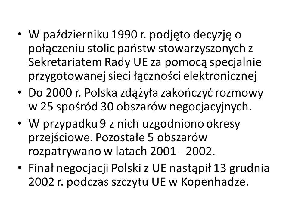 W październiku 1990 r. podjęto decyzję o połączeniu stolic państw stowarzyszonych z Sekretariatem Rady UE za pomocą specjalnie przygotowanej sieci łąc