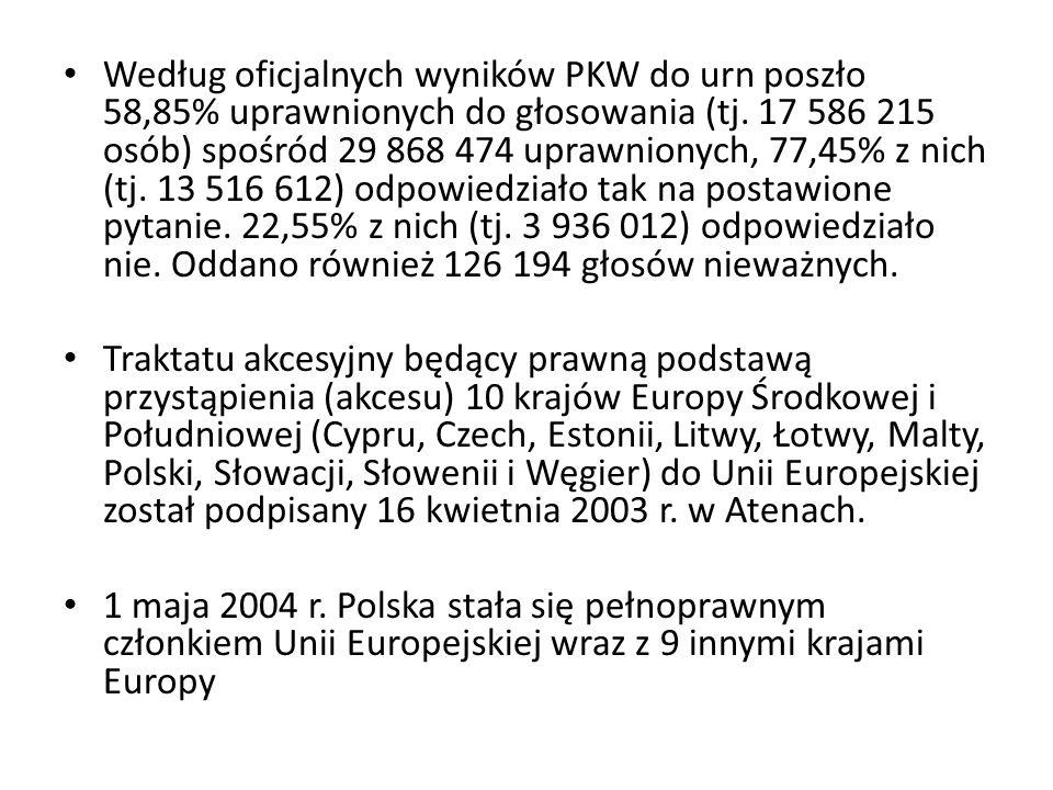 Według oficjalnych wyników PKW do urn poszło 58,85% uprawnionych do głosowania (tj. 17 586 215 osób) spośród 29 868 474 uprawnionych, 77,45% z nich (t