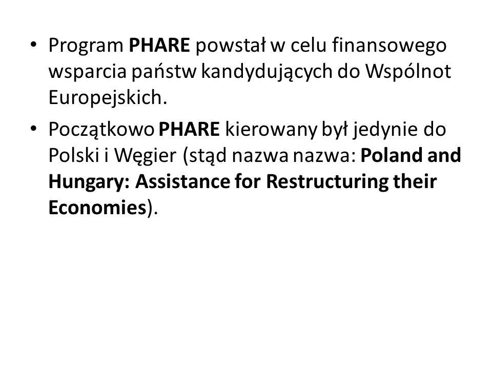 Program PHARE powstał w celu finansowego wsparcia państw kandydujących do Wspólnot Europejskich. Początkowo PHARE kierowany był jedynie do Polski i Wę