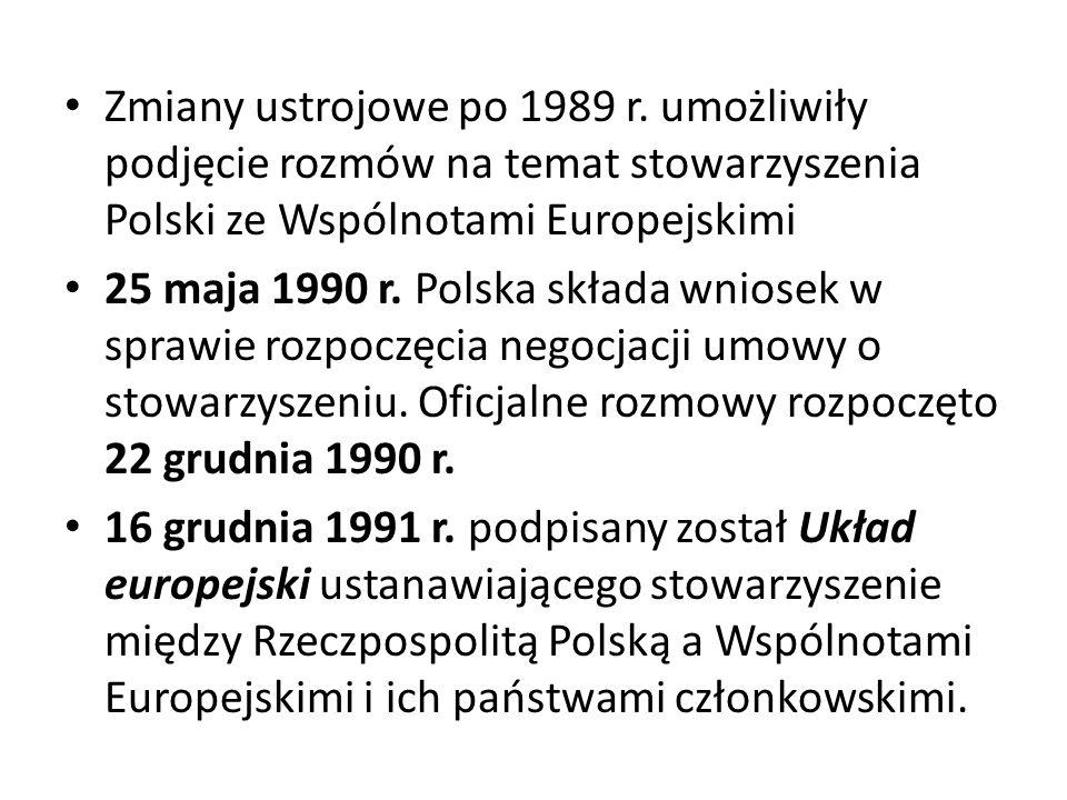 Zmiany ustrojowe po 1989 r. umożliwiły podjęcie rozmów na temat stowarzyszenia Polski ze Wspólnotami Europejskimi 25 maja 1990 r. Polska składa wniose