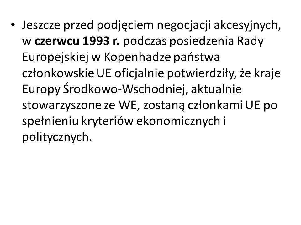 Jeszcze przed podjęciem negocjacji akcesyjnych, w czerwcu 1993 r.