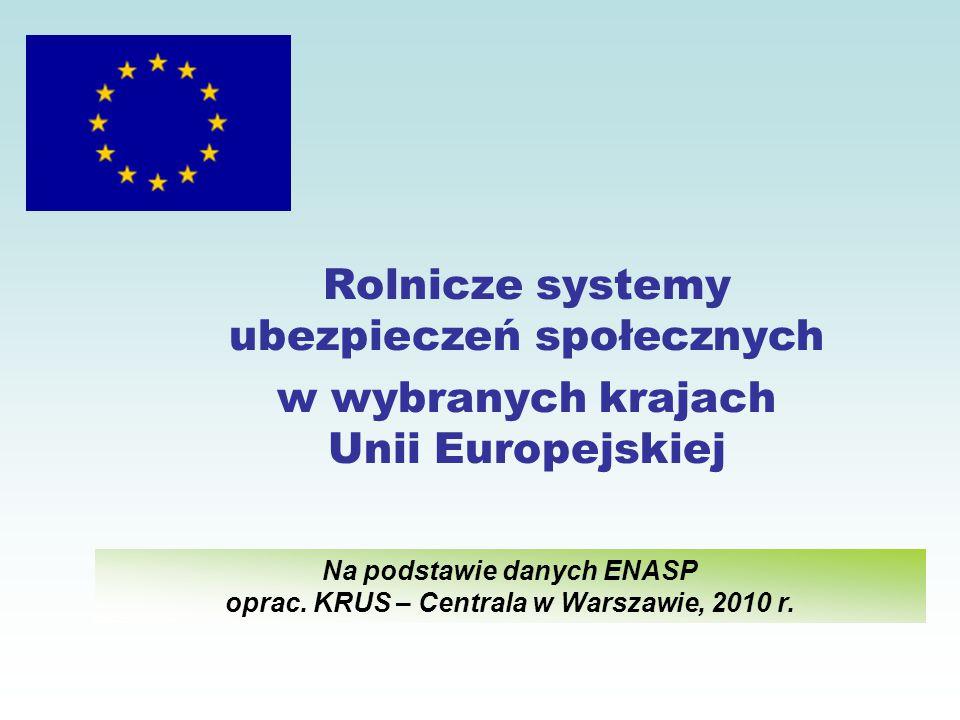 Rolnicze systemy ubezpieczeń społecznych w wybranych krajach Unii Europejskiej Na podstawie danych ENASP oprac.