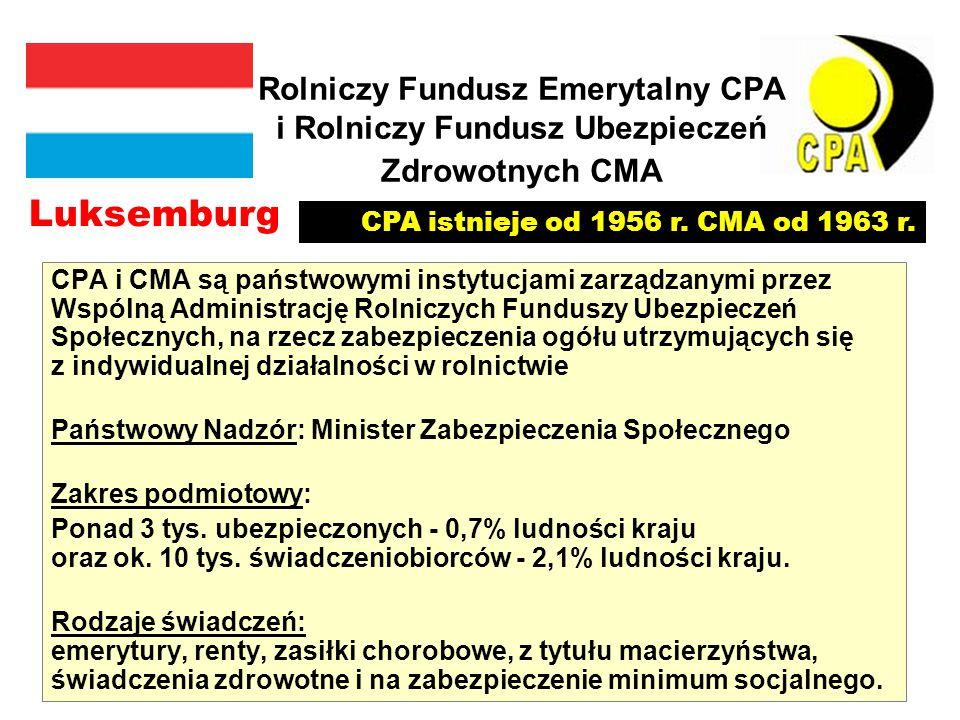 Rolniczy Fundusz Emerytalny CPA i Rolniczy Fundusz Ubezpieczeń Zdrowotnych CMA CPA i CMA są państwowymi instytucjami zarządzanymi przez Wspólną Administrację Rolniczych Funduszy Ubezpieczeń Społecznych, na rzecz zabezpieczenia ogółu utrzymujących się z indywidualnej działalności w rolnictwie Państwowy Nadzór: Minister Zabezpieczenia Społecznego Zakres podmiotowy: Ponad 3 tys.