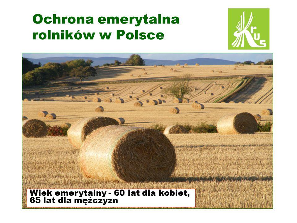 Ochrona emerytalna rolników w Polsce Wiek emerytalny - 60 lat dla kobiet, 65 lat dla mężczyzn
