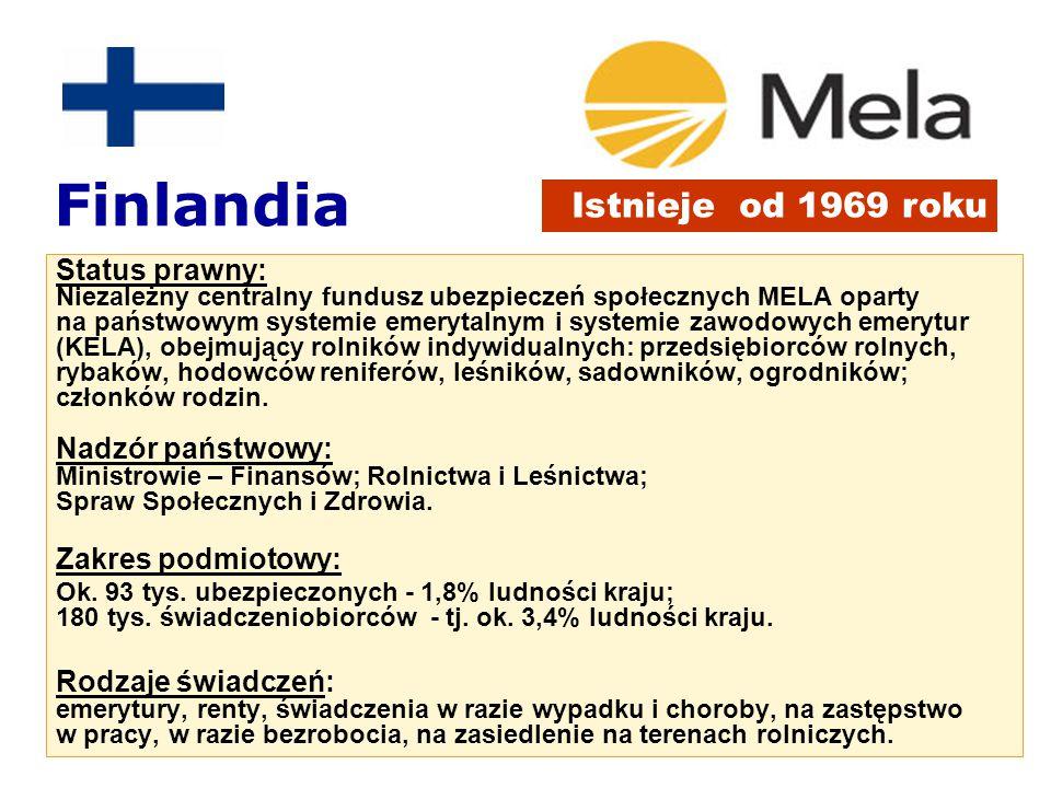 Subwencjonowanie świadczeń w MELA Budżet = 1 mld € w tym: Udział subwencji w wydatkach MELA na świadczenia emerytury i rodzinne 75% wypadkowe i chorobowe 28% MELA 40% KELA urlopy i zastępstwo 100% Źródło: ENASP 2004 r.