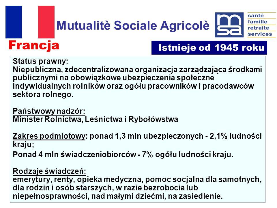 Mutualitè Sociale Agricolè Status prawny: Niepubliczna, zdecentralizowana organizacja zarządzająca środkami publicznymi na obowiązkowe ubezpieczenia społeczne indywidualnych rolników oraz ogółu pracowników i pracodawców sektora rolnego.