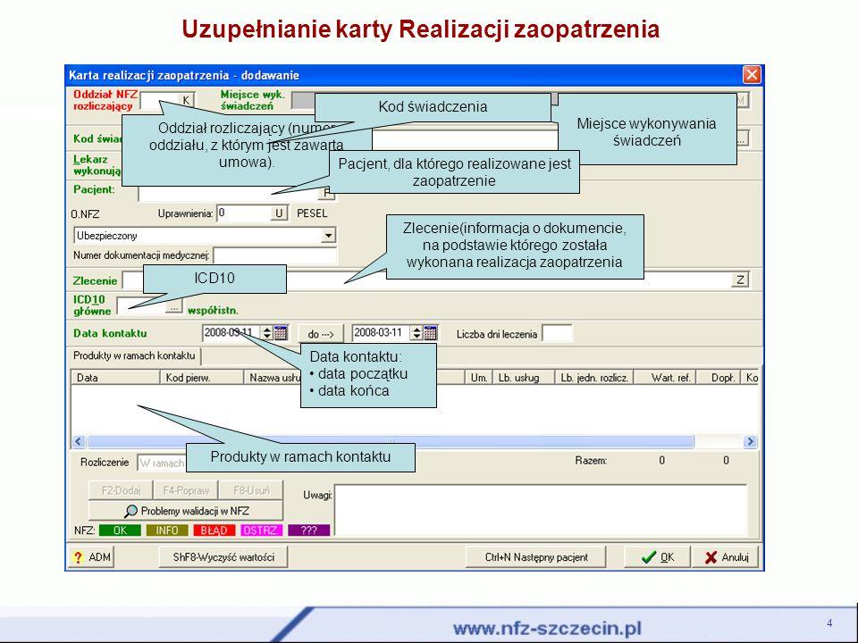 Menu Sprawozdawczość jest obszarem, w którym dokonuje się wczytania plików komunikatów statystycznych i rachunków na serwer dostępowy NFZ.