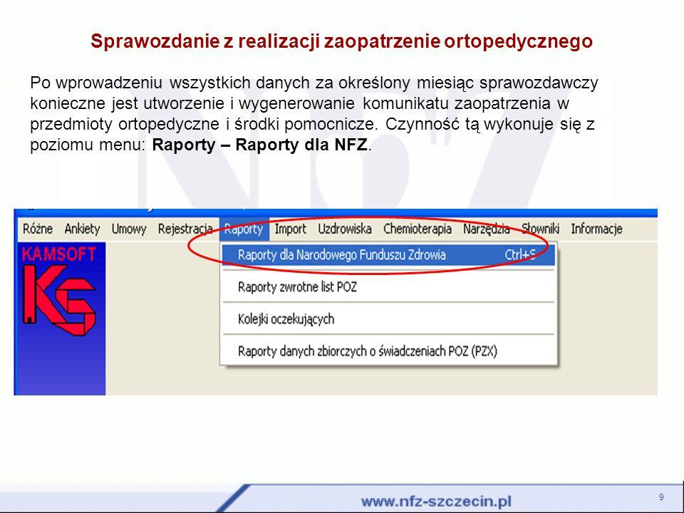 Po wyświetleniu okna Listy POZ, raporty statystyczne i komunikaty SWX należy wybrać opcję F2-Dodaj a następnie wskazać opcję: Raport statystyczny ZPX do umowy – zaopatrzenie.