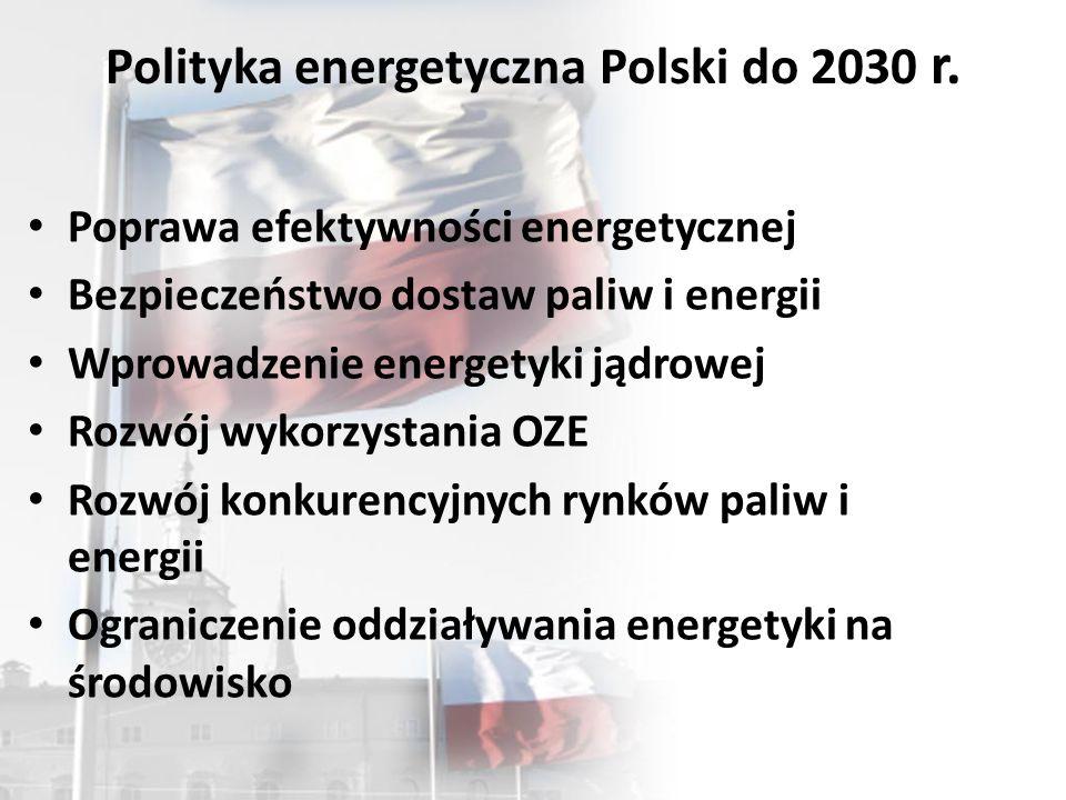 Polityka energetyczna Polski do 2030 r. Poprawa efektywności energetycznej Bezpieczeństwo dostaw paliw i energii Wprowadzenie energetyki jądrowej Rozw