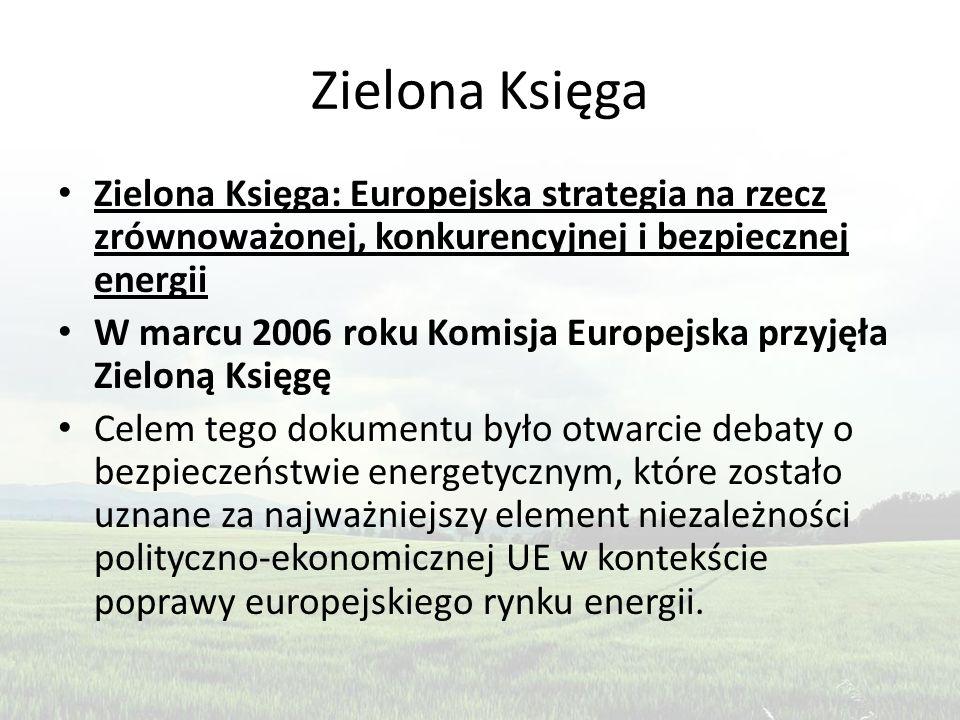 Zielona Księga Zielona Księga: Europejska strategia na rzecz zrównoważonej, konkurencyjnej i bezpiecznej energii W marcu 2006 roku Komisja Europejska