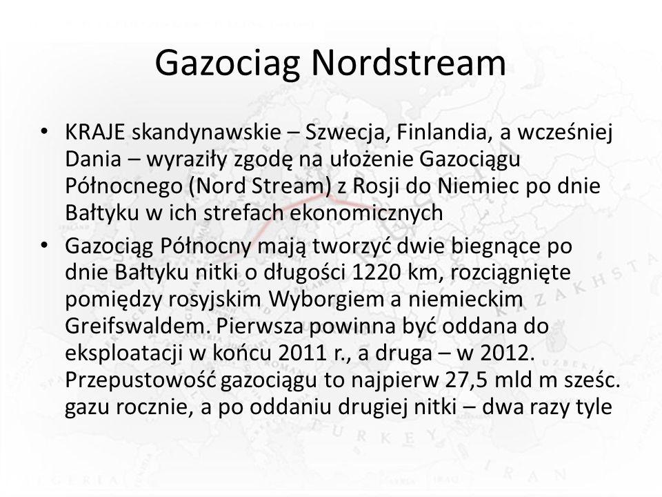 Gazociag Nordstream KRAJE skandynawskie – Szwecja, Finlandia, a wcześniej Dania – wyraziły zgodę na ułożenie Gazociągu Północnego (Nord Stream) z Rosji do Niemiec po dnie Bałtyku w ich strefach ekonomicznych Gazociąg Północny mają tworzyć dwie biegnące po dnie Bałtyku nitki o długości 1220 km, rozciągnięte pomiędzy rosyjskim Wyborgiem a niemieckim Greifswaldem.