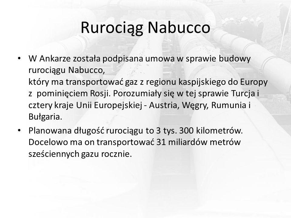 Rurociąg Nabucco W Ankarze została podpisana umowa w sprawie budowy rurociągu Nabucco, który ma transportować gaz z regionu kaspijskiego do Europy z p