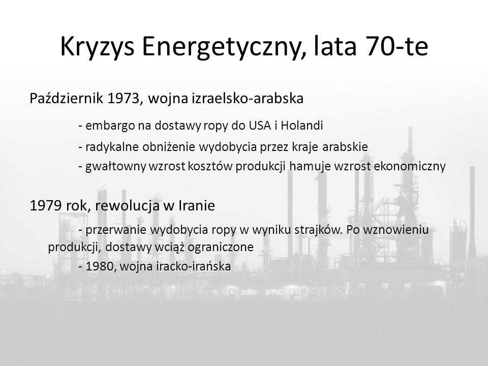 Kryzys Energetyczny, lata 70-te Październik 1973, wojna izraelsko-arabska - embargo na dostawy ropy do USA i Holandi - radykalne obniżenie wydobycia przez kraje arabskie - gwałtowny wzrost kosztów produkcji hamuje wzrost ekonomiczny 1979 rok, rewolucja w Iranie - przerwanie wydobycia ropy w wyniku strajków.
