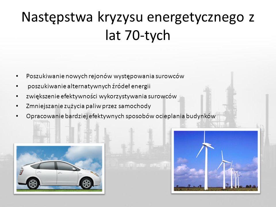 Następstwa kryzysu energetycznego z lat 70-tych Poszukiwanie nowych rejonów występowania surowców poszukiwanie alternatywnych źródeł energii zwiększenie efektywności wykorzystywania surowców Zmniejszanie zużycia paliw przez samochody Opracowanie bardziej efektywnych sposobów ocieplania budynków
