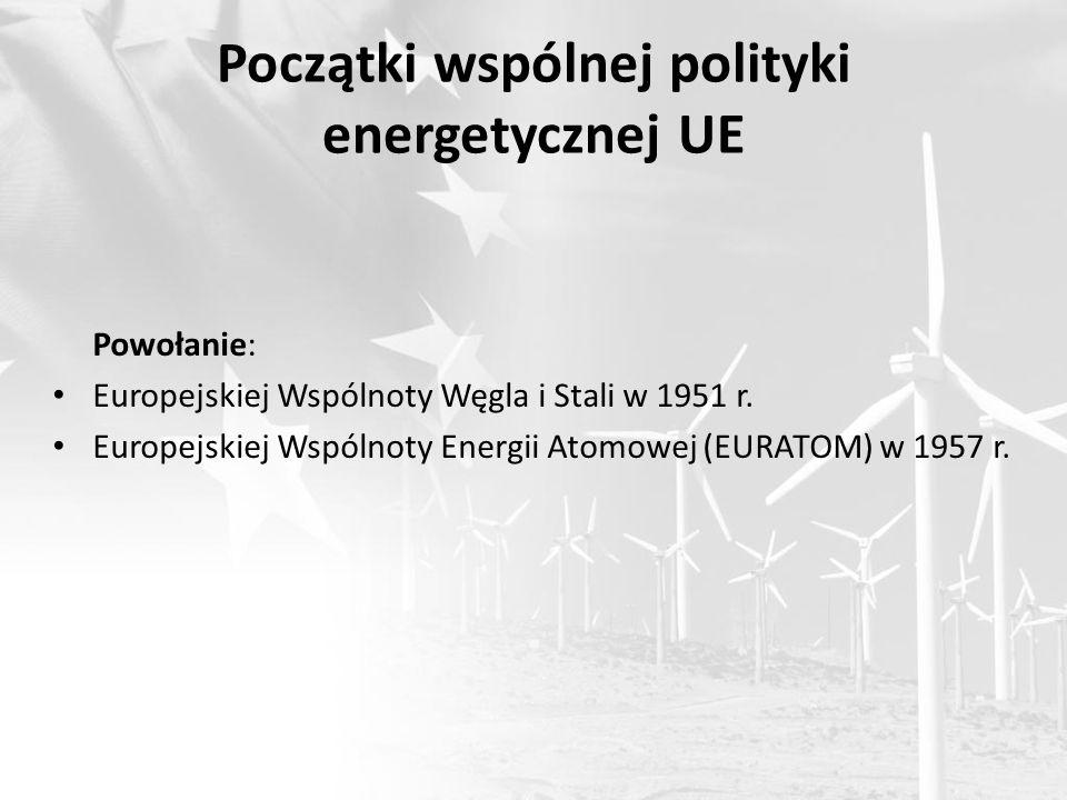 Początki wspólnej polityki energetycznej UE Powołanie: Europejskiej Wspólnoty Węgla i Stali w 1951 r. Europejskiej Wspólnoty Energii Atomowej (EURATOM
