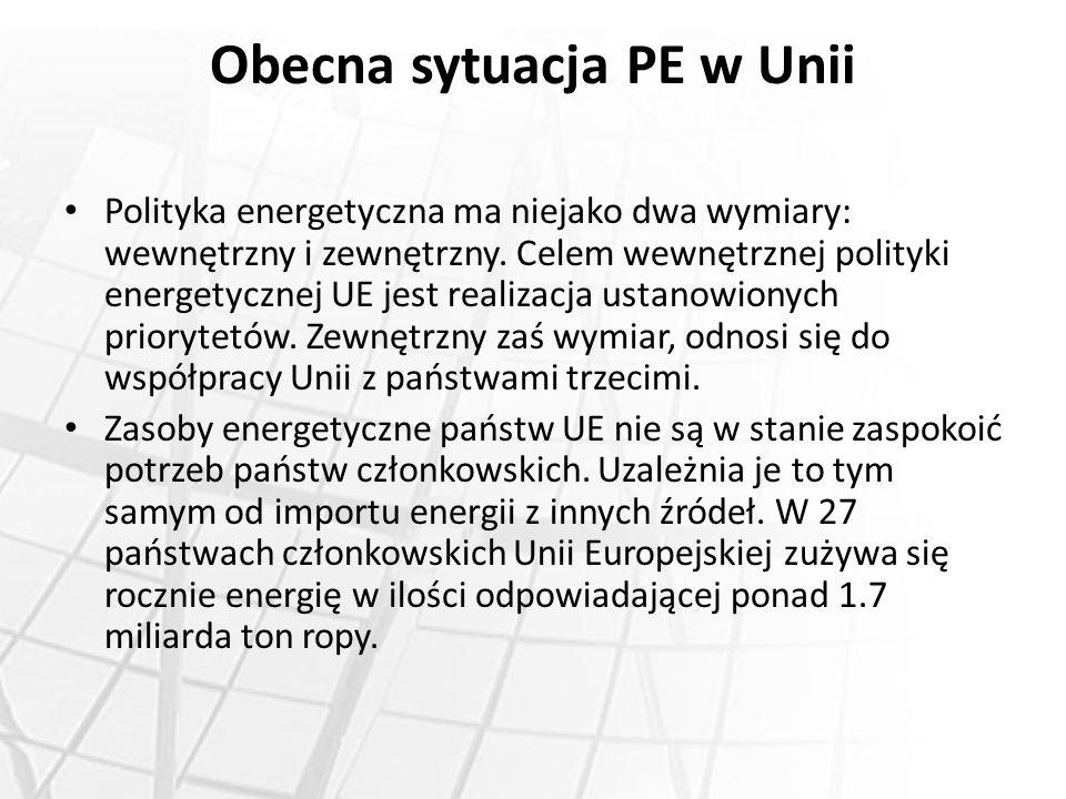 Obecna sytuacja PE w Unii Polityka energetyczna ma niejako dwa wymiary: wewnętrzny i zewnętrzny. Celem wewnętrznej polityki energetycznej UE jest real