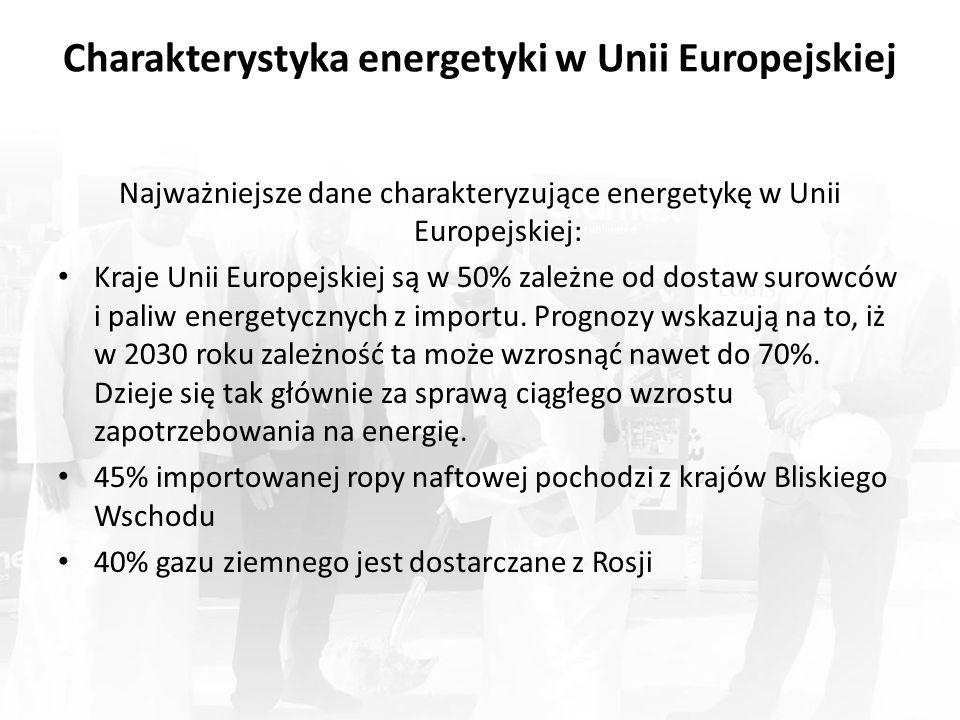 Charakterystyka energetyki w Unii Europejskiej Najważniejsze dane charakteryzujące energetykę w Unii Europejskiej: Kraje Unii Europejskiej są w 50% zależne od dostaw surowców i paliw energetycznych z importu.