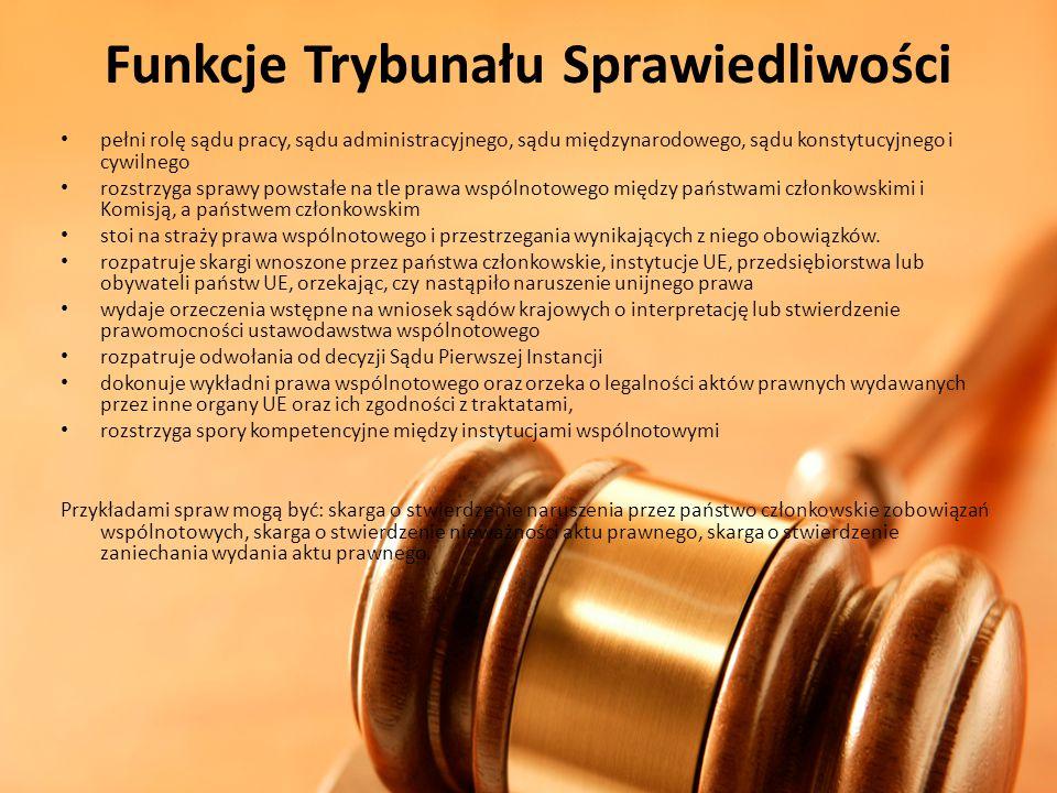 Funkcje Trybunału Sprawiedliwości pełni rolę sądu pracy, sądu administracyjnego, sądu międzynarodowego, sądu konstytucyjnego i cywilnego rozstrzyga sp