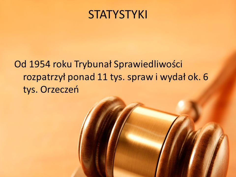 STATYSTYKI Od 1954 roku Trybunał Sprawiedliwości rozpatrzył ponad 11 tys. spraw i wydał ok. 6 tys. Orzeczeń
