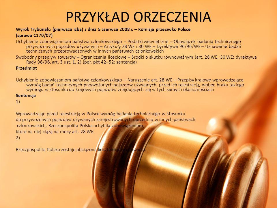 PRZYKŁAD ORZECZENIA Wyrok Trybunału (pierwsza izba) z dnia 5 czerwca 2008 r. – Komisja przeciwko Polsce (sprawa C170/07) Uchybienie zobowiązaniom pańs