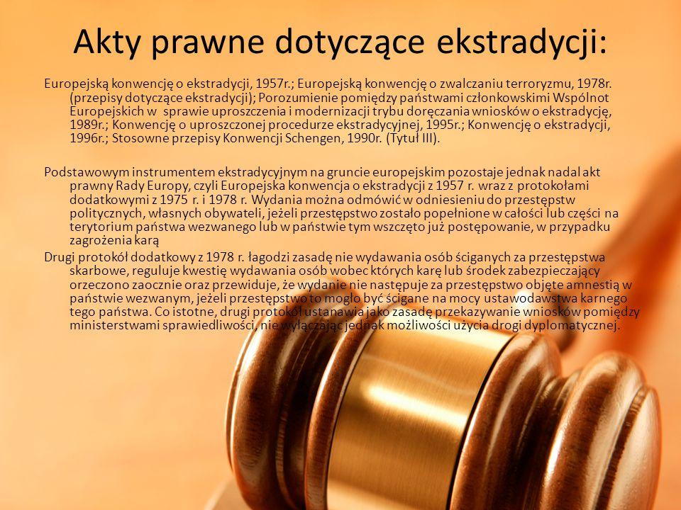Akty prawne dotyczące ekstradycji: Europejską konwencję o ekstradycji, 1957r.; Europejską konwencję o zwalczaniu terroryzmu, 1978r. (przepisy dotycząc