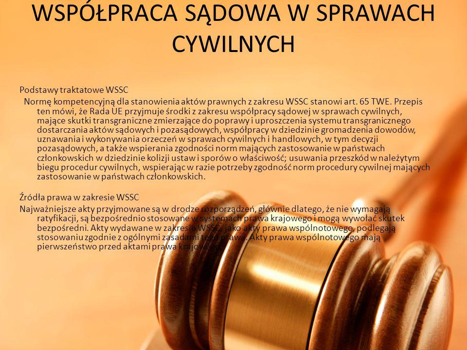 WSPÓŁPRACA SĄDOWA W SPRAWACH CYWILNYCH Podstawy traktatowe WSSC Normę kompetencyjną dla stanowienia aktów prawnych z zakresu WSSC stanowi art. 65 TWE.