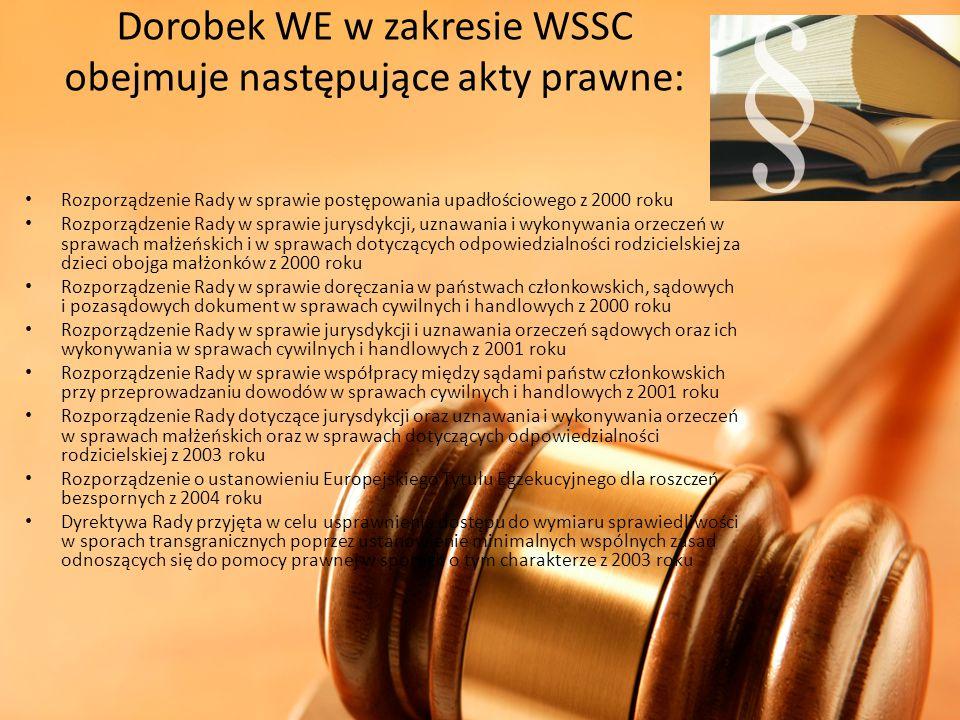 Dorobek WE w zakresie WSSC obejmuje następujące akty prawne: Rozporządzenie Rady w sprawie postępowania upadłościowego z 2000 roku Rozporządzenie Rady