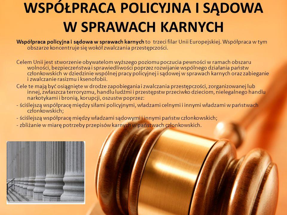 WSPÓŁPRACA POLICYJNA I SĄDOWA W SPRAWACH KARNYCH Współpraca policyjna i sądowa w sprawach karnych to trzeci filar Unii Europejskiej. Współpraca w tym