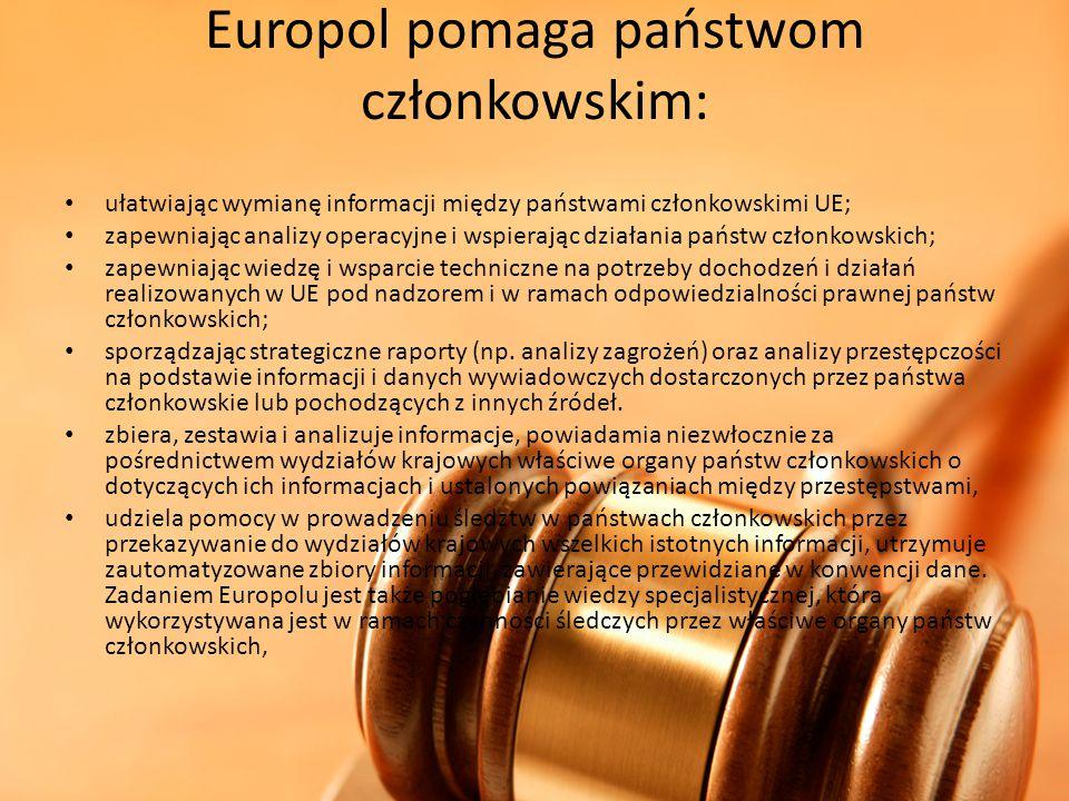 Europol pomaga państwom członkowskim: ułatwiając wymianę informacji między państwami członkowskimi UE; zapewniając analizy operacyjne i wspierając dzi
