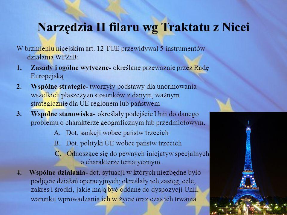 Narzędzia II filaru wg Traktatu z Nicei W brzmieniu nicejskim art. 12 TUE przewidywał 5 instrumentów działania WPZiB: 1.Zasady i ogólne wytyczne- okre