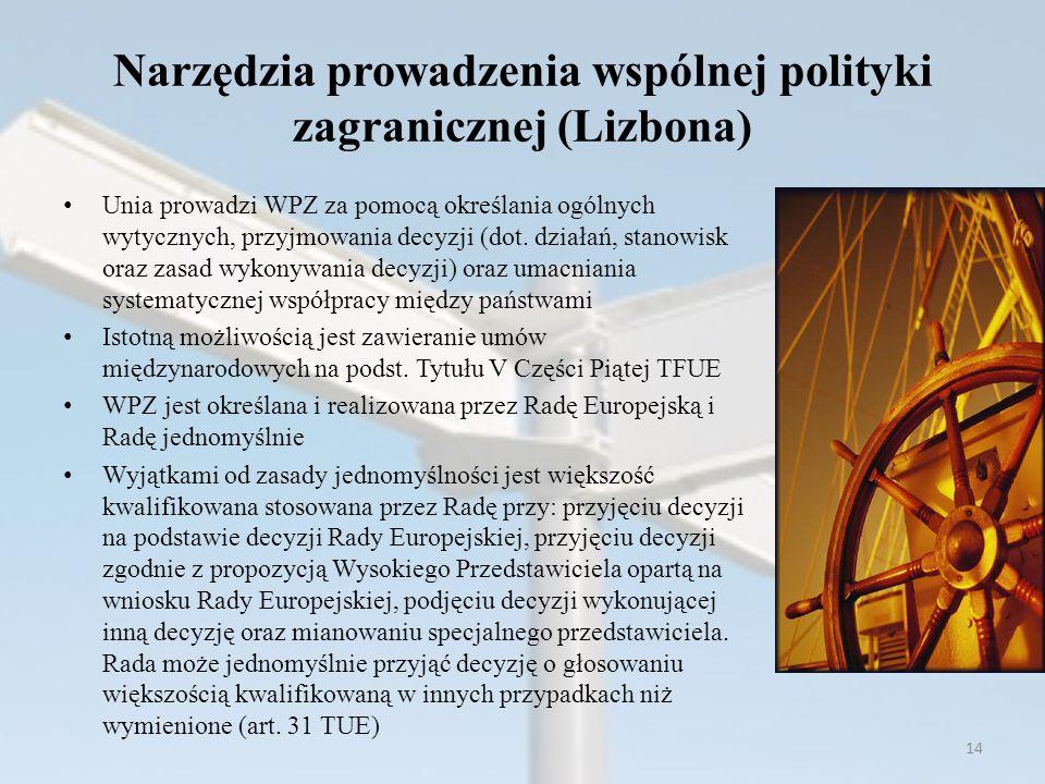 Narzędzia prowadzenia wspólnej polityki zagranicznej (Lizbona) Unia prowadzi WPZ za pomocą określania ogólnych wytycznych, przyjmowania decyzji (dot.