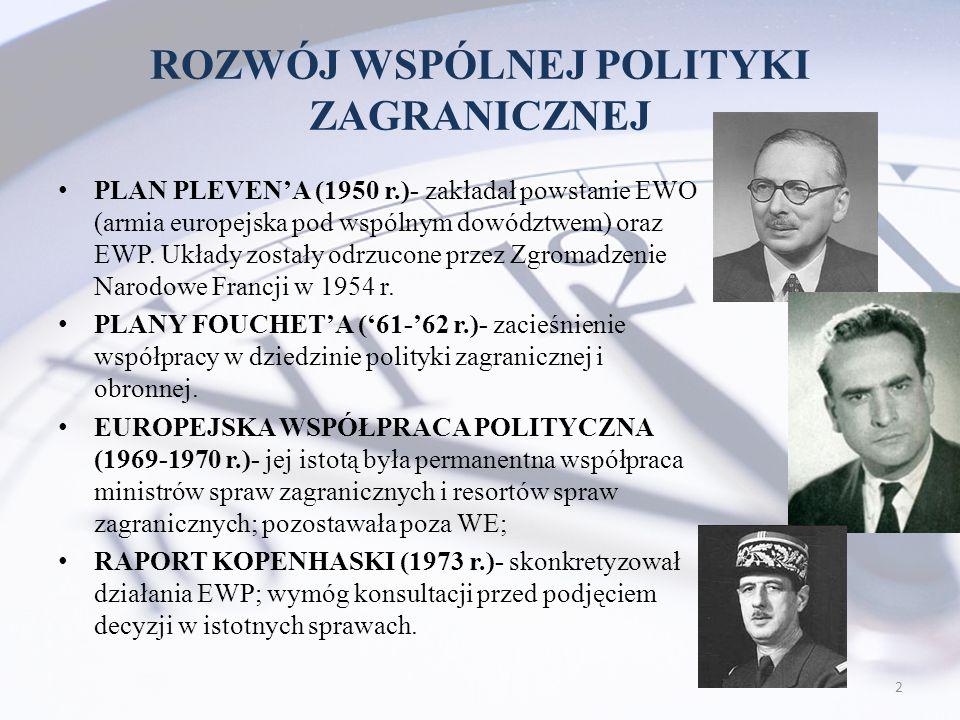 ROZWÓJ WSPÓLNEJ POLITYKI ZAGRANICZNEJ PLAN PLEVEN'A (1950 r.)- zakładał powstanie EWO (armia europejska pod wspólnym dowództwem) oraz EWP. Układy zost