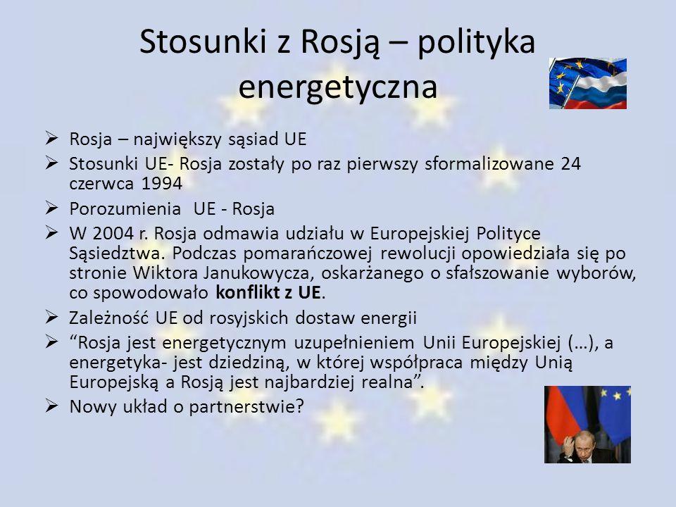 Stosunki z Rosją – polityka energetyczna  Rosja – największy sąsiad UE  Stosunki UE- Rosja zostały po raz pierwszy sformalizowane 24 czerwca 1994 