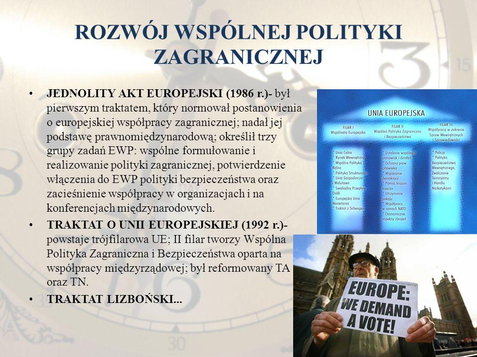 ROZWÓJ WSPÓLNEJ POLITYKI ZAGRANICZNEJ JEDNOLITY AKT EUROPEJSKI (1986 r.)- był pierwszym traktatem, który normował postanowienia o europejskiej współpr