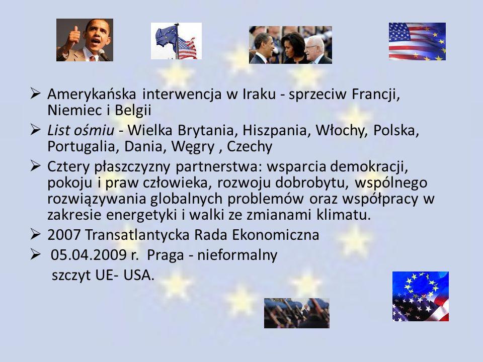  Amerykańska interwencja w Iraku - sprzeciw Francji, Niemiec i Belgii  List ośmiu - Wielka Brytania, Hiszpania, Włochy, Polska, Portugalia, Dania, W