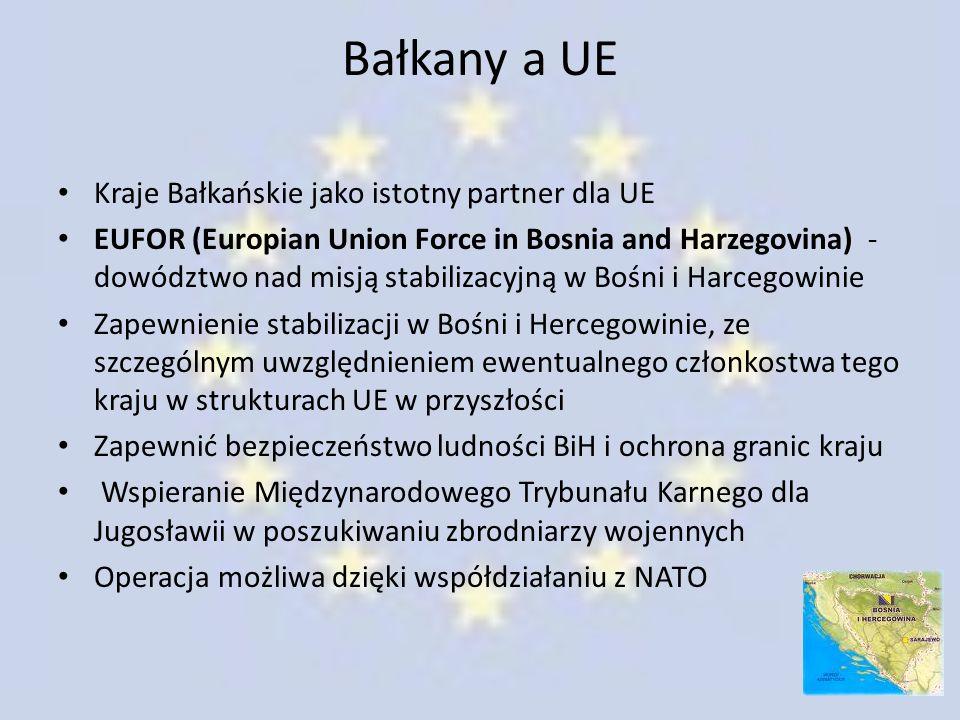 Bałkany a UE Kraje Bałkańskie jako istotny partner dla UE EUFOR (Europian Union Force in Bosnia and Harzegovina) - dowództwo nad misją stabilizacyjną
