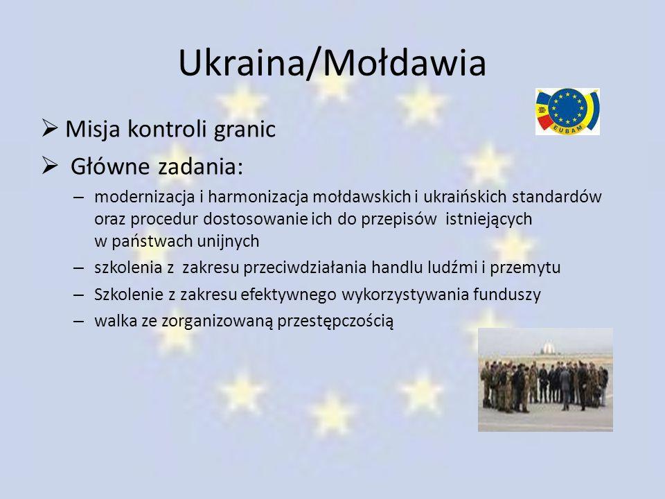 Ukraina/Mołdawia  Misja kontroli granic  Główne zadania: – modernizacja i harmonizacja mołdawskich i ukraińskich standardów oraz procedur dostosowan