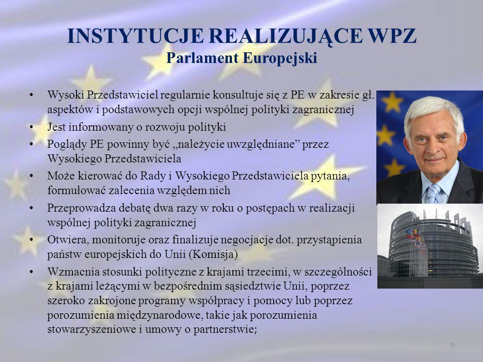 INSTYTUCJE REALIZUJĄCE WPZ Parlament Europejski Wysoki Przedstawiciel regularnie konsultuje się z PE w zakresie gł. aspektów i podstawowych opcji wspó