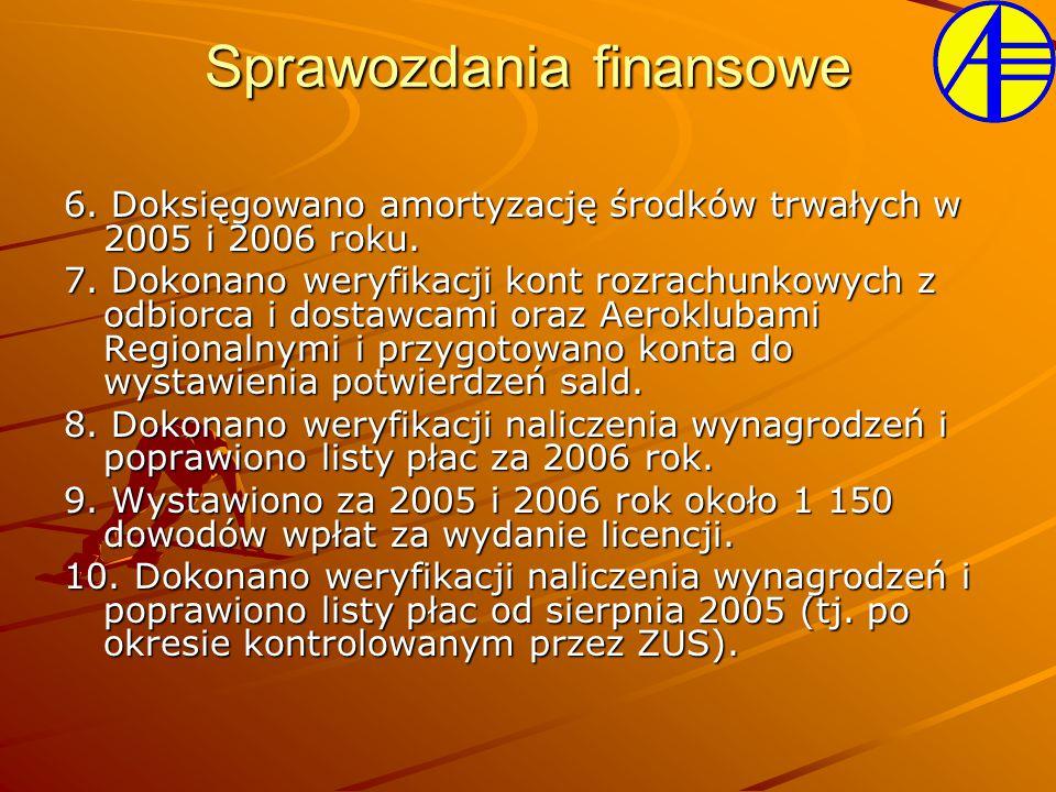 6. Doksięgowano amortyzację środków trwałych w 2005 i 2006 roku. 7. Dokonano weryfikacji kont rozrachunkowych z odbiorca i dostawcami oraz Aeroklubami