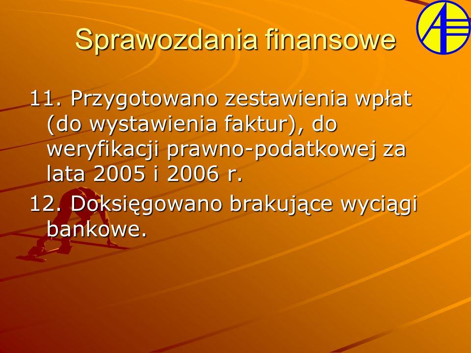 11. Przygotowano zestawienia wpłat (do wystawienia faktur), do weryfikacji prawno-podatkowej za lata 2005 i 2006 r. 12. Doksięgowano brakujące wyciągi