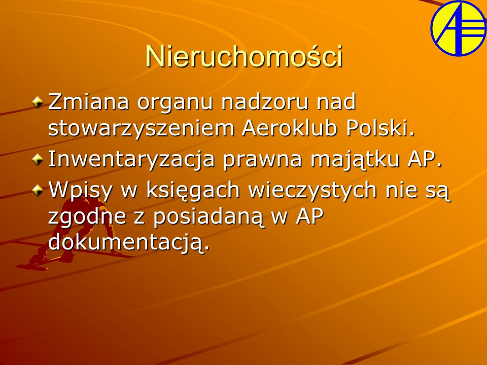 Zmiana organu nadzoru nad stowarzyszeniem Aeroklub Polski. Inwentaryzacja prawna majątku AP. Wpisy w księgach wieczystych nie są zgodne z posiadaną w
