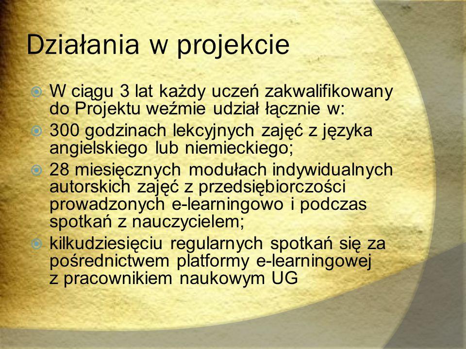 Działania w projekcie  W ciągu 3 lat każdy uczeń zakwalifikowany do Projektu weźmie udział łącznie w:  300 godzinach lekcyjnych zajęć z języka angie