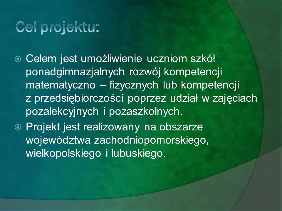 """Cele projektu:  Celem głównym projektu jest stworzenie, przetestowanie oraz upowszechnienie i wprowadzenie do polityki rozwoju innowacyjnych narzędzi wspomagających proces dydaktyczny w zakresie nauczania i kreowania postaw przedsiębiorczych wśród uczniów szkół ponadgimnazjalnych z terenu Wielkopolski, w ramach nauczania przedmiotów """"Podstawy Przedsiębiorczości"""" i """"Ekonomia w praktyce w okresie od 28.03.2011r do 28.03."""